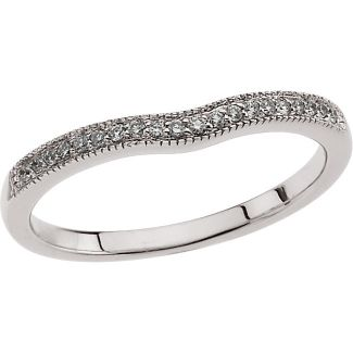 14k White Gold Vintage Style 2.0mm Curved .10cttw Diamond Wedding Band