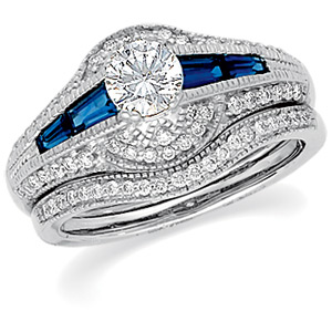 14k White Gold Art Deco Style .50 Carat Semi Mount Sapphire & Diamond Engagement Ring w/ .91cttw of Accents
