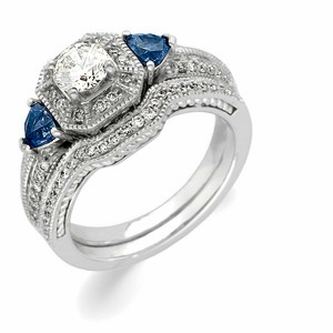 14k White Gold Art Deco Style .50 Carat Semi Mount Sapphire & Diamond Engagement Ring w/ .82cttw of Accents