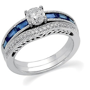 14k White Gold Art Deco Style .50 Carat Semi Mount Sapphire & Diamond Engagement Ring w/ 1.12cttw of Accents
