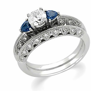 14k White Gold Art Deco Style .50 Carat Semi Mount Sapphire & Diamond Engagement Ring w/ .46cttw of Accents