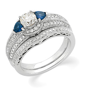 14k White Gold Art Deco Style .50 Carat Semi Mount Sapphire & Diamond Engagement Ring w/ .69cttw of Acccents