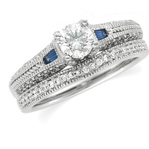 14k White Gold Art Deco Style .50 Carat Semi Mount Sapphire & Diamond Engagement Ring w/ .37cttw of Accents