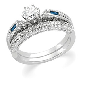 14k White Gold Art Deco Style .50 Carat Semi Mount Sapphire & Diamond Engagement Ring w/ .40cttw of Accents