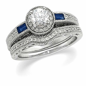 14k White Gold Art Deco Style .50 Carat Semi Mount Sapphire & Diamond Engagement Ring w/ .54cttw of Accents