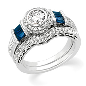 14k White Gold Art Deco Style .50 Carat Semi Mount Sapphire & Diamond Engagement Ring w/ .93cttw of Accents