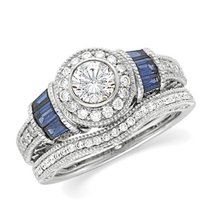 14k White Gold Art Deco Style .50 Carat Semi Mount Sapphire & Diamond Engagement Ring w/ 1.20cttw of Accents