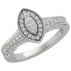 14k White Gold Vintage Style .75cttw Marquise Diamond Engagement Ring
