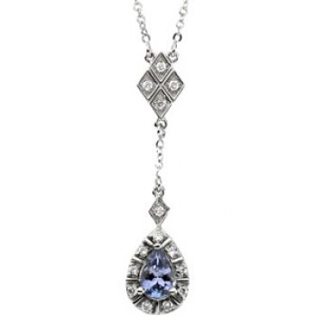 14k White Gold Art Deco Style .16cttw Diamond & Tanzanite Drop Necklace