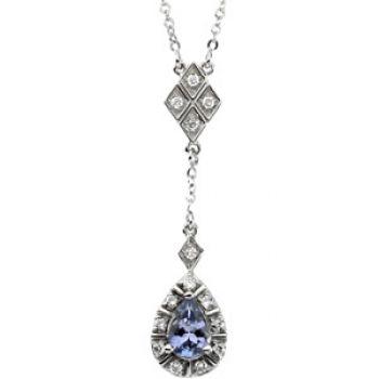 14k White Gold Art Deco Style .16cttw Diamond & Tanzanite Drop Necklace