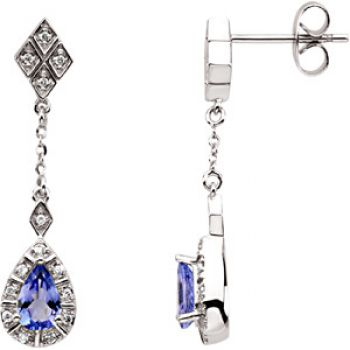 14k White Gold Art Deco Style .16cttw Diamond & Tanzanite Drop Earrings