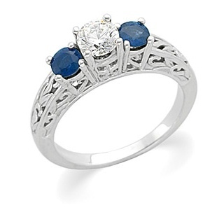 14k White Gold Art Deco Style .50 Carat Semi Mount Sapphire Engagement Ring