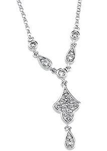 14k White Gold Art Deco Style .20cttw Pave' Diamond Drop Necklace