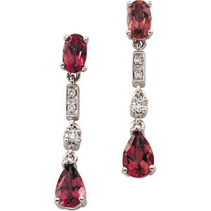 14k White Gold Art Deco Style .07cttw Diamond & Pink Tourmaline Drop Earrings
