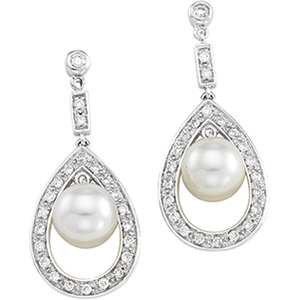 14k White Gold Art Deco Style .25cttw Diamond and Cultured Pearl Earrings