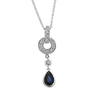 14k White Gold Art Deco Style .08cttw Diamond & Sapphire Drop Pendant w/ Chain
