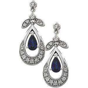 14k White Gold Art Deco Style .20cttw Diamond & Sapphire Drop Earrings