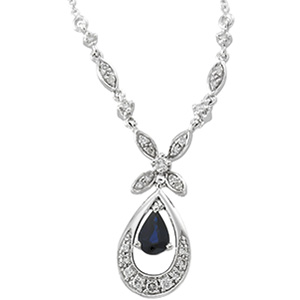 14k White Gold Art Deco Style .20cttw Diamond & Sapphire Drop Necklace