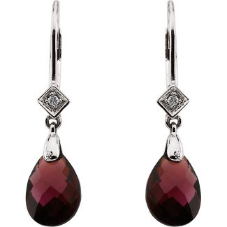 14k White Gold Vintage Style 5.0cttw Garnet Briolette & Diamond Drop Earrings