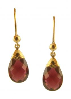 14k Yellow Gold Antique Style Garnet Briolette Drop Earrings
