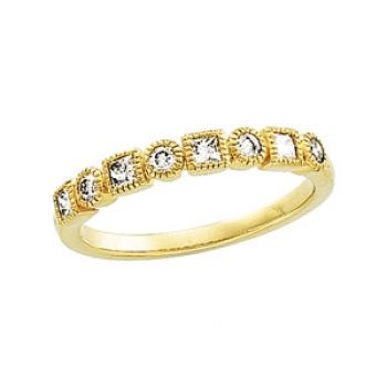 14k Yellow Gold Art Deco Style .40 cttw Diamond Anniversary Band