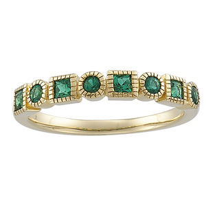 14k Yellow Gold Art Deco Style Emerald Band