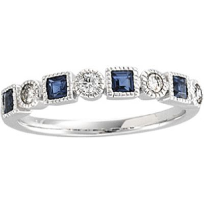 14k White Gold Art Deco Style Sapphire &  .20 cttw Diamond Band