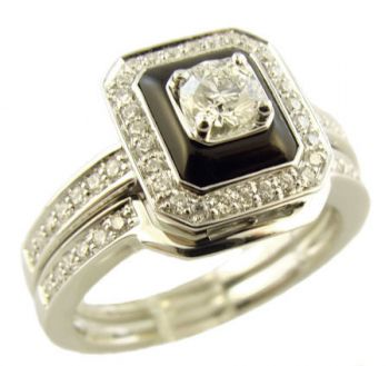 14k White Gold Art Deco Style Onyx & .50cttw Diamond Engagement Ring & Wedding Band