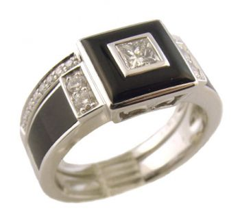 14k White Gold Art Deco Style Onyx & .37cttw Diamond Engagement Ring & Wedding Band