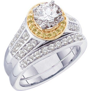 14k Two Tone Vintage Style .50 Carat Semi Mount Diamond Engagement Ring w/ .50cttw of Accents