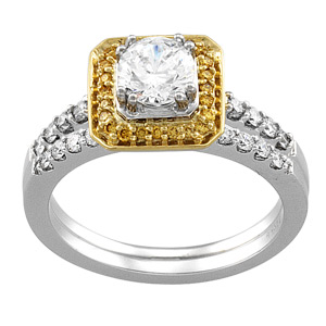 14k Two Tone Vintage Style .75 Carat Semi Mount Diamond Engagement Ring w/ .25cttw Accents