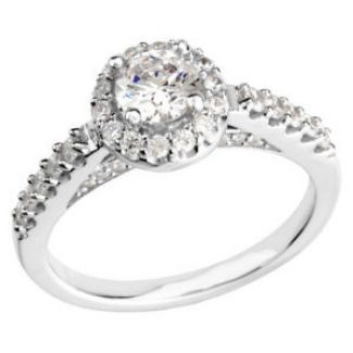 14k White Gold Vintage Style .50 Carat Semi Mount Diamond Engagement Ring w/ .50cttw of Accents