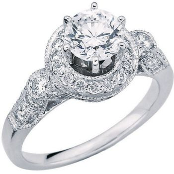 14k White Gold Vintage Style .50 Carat Semi Mount Diamond Engagement Ring Base w/ .90cttw of Accents