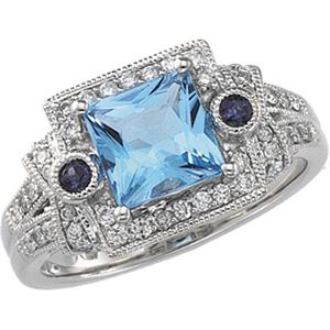 14k White Gold Art Deco Style Topaz, Iolite & Diamond Ring