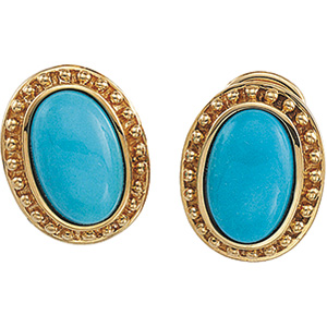 14k Yellow Gold Victorian Style Turquoise Cabochon Earrings