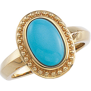 14k Yellow Gold Victorian Style Turquoise Cabochon Ring