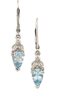 14k White Gold Art Deco Style 1.45cttw Aquamarine & Diamond Drop Earrings