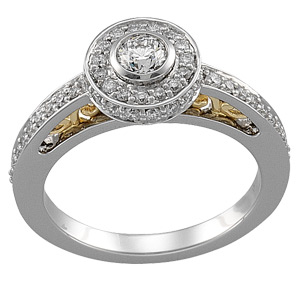 14k Two Tone Vintage Style .75cttw Diamond Engagement Ring & Wedding Band
