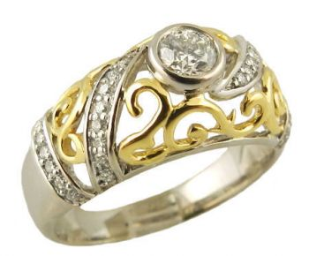 14k Two Tone Vintage Style .50cttw Diamond Engagement Ring & Wedding Band
