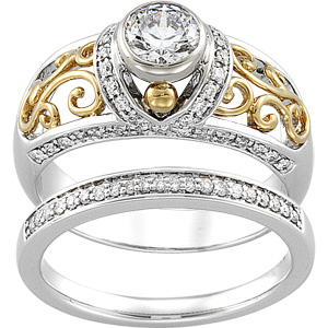 14k Two Tone Vintage Style .50 Carat Semi Mount Diamond Engagement Ring w/ .25cttw of Accents