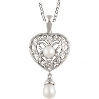 Vintage Style Filigree Heart, Pearl & .02cttw Diamond Drop Pendant in Sterling Silver