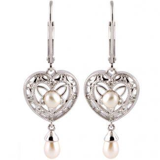 Vintage Style Sterling Silver Filigree Heart, Pearl & .04cttw Diamond Dangle Earrings
