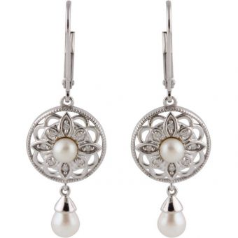 Vintage Style Sterling Silver Freshwater Pearl & .08cttw Diamond Dangle Earrings