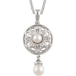 Vintage Style Circular Filigree Pearl & .04cttw Diamond Drop Pendant in Sterling Silver