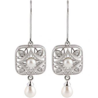 Vintage Style Sterling Silver Freshwater Pearl & .08cttw Diamond Dangle Earrings