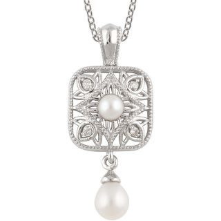 Vintage Style Filigree Pearl & .04cttw Diamond Drop Pendant in Sterling Silver