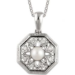 Vintage Style Filigree Pearl & .05cttw Diamond Pendant in Sterling Silver