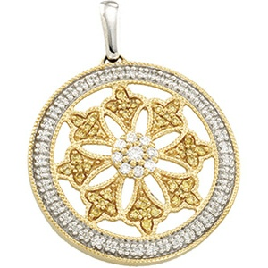 Vintage Style .50cttw Natural Yellow & White Diamond Openwork Circle Pendant