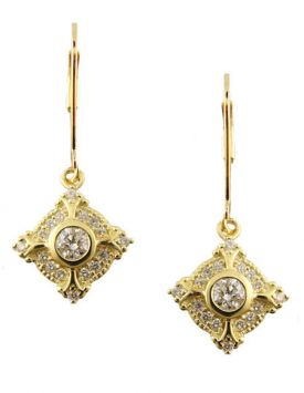 14k Yellow Gold Antique Style .50cttw Diamond Dangle Earrings