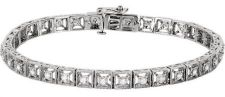 14k White Gold Art Deco Style Box Link .50cttw Diamond Line Bracelet